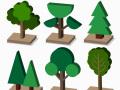 AI拼贴风轴测效果图贴图素材-植物