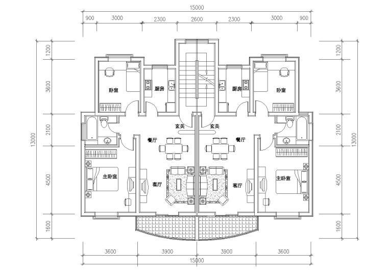 多套高层一梯两户户型平面图(CAD)