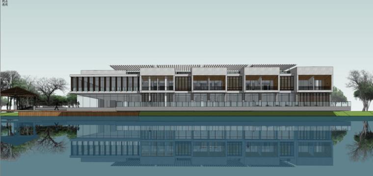 现代风格会所小旅馆建筑模型设计