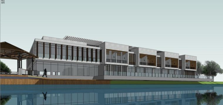 现代风格会所小旅馆建筑模型设计-水边会所小旅馆 (2)
