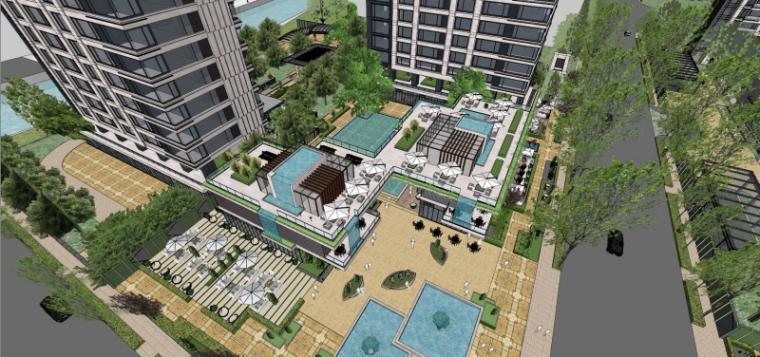 [上海]现代风格公寓建筑模型设计-上海黄浦江沿岸浦发公寓 (2)
