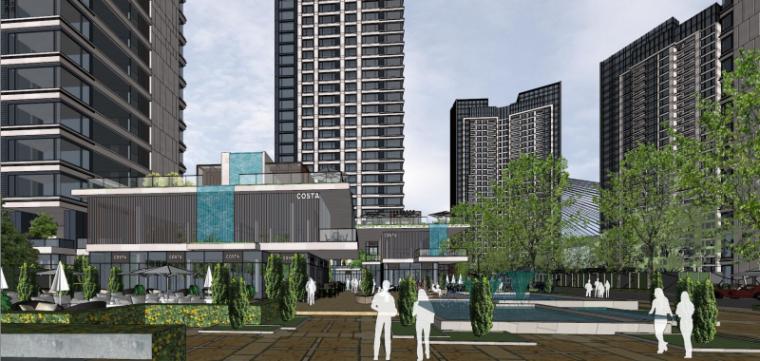 [上海]现代风格公寓建筑模型设计-上海黄浦江沿岸浦发公寓 (3)