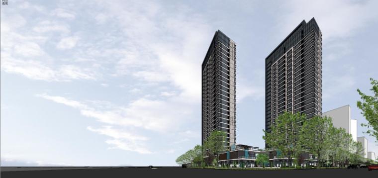 [上海]现代风格公寓建筑模型设计-上海黄浦江沿岸浦发公寓 (4)