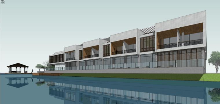 现代风格会所小旅馆建筑模型设计-水边会所小旅馆 (3)
