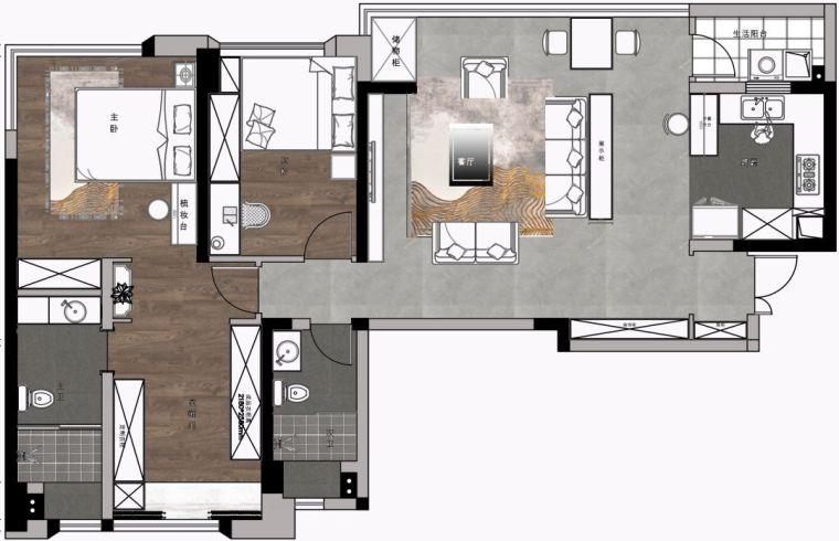 119平的轻奢风三居室,大横厅的格局很适合