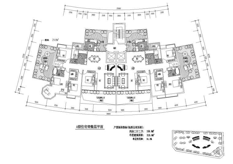 [广东]东江明珠花园西区居住区住宅户型图
