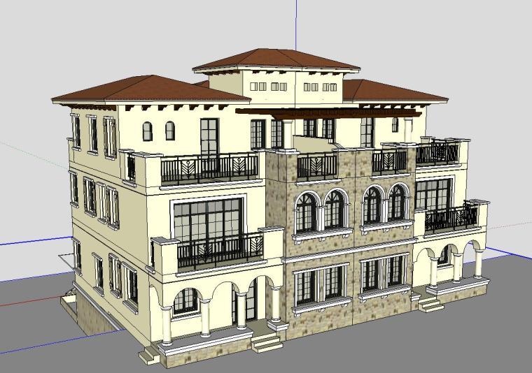 欧式风格别墅建筑模型设计