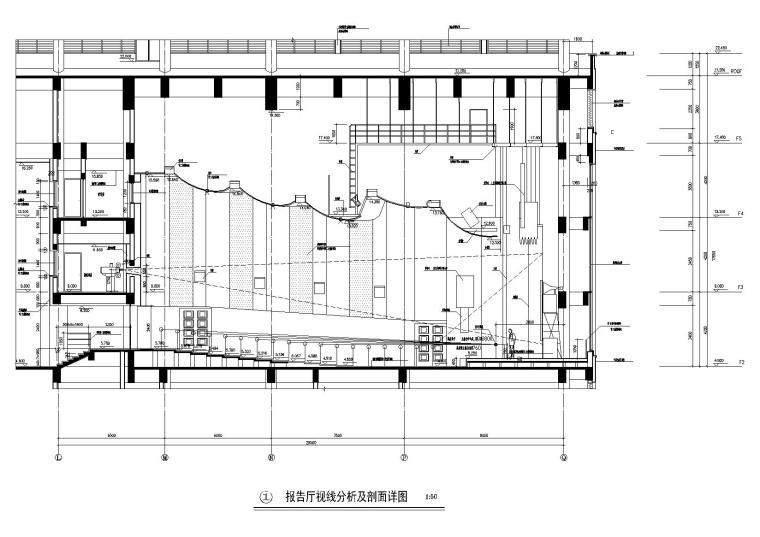 报告厅视线分析及剖面详图