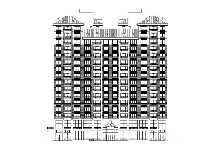 [湖南]湘江餐厅底商高层住宅楼建筑施工图