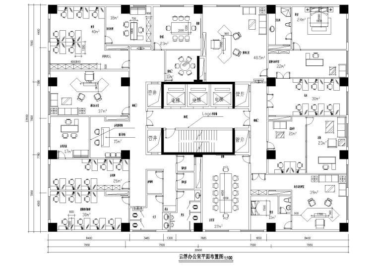 北方北投投资集团办公室CAD施工图+效果图