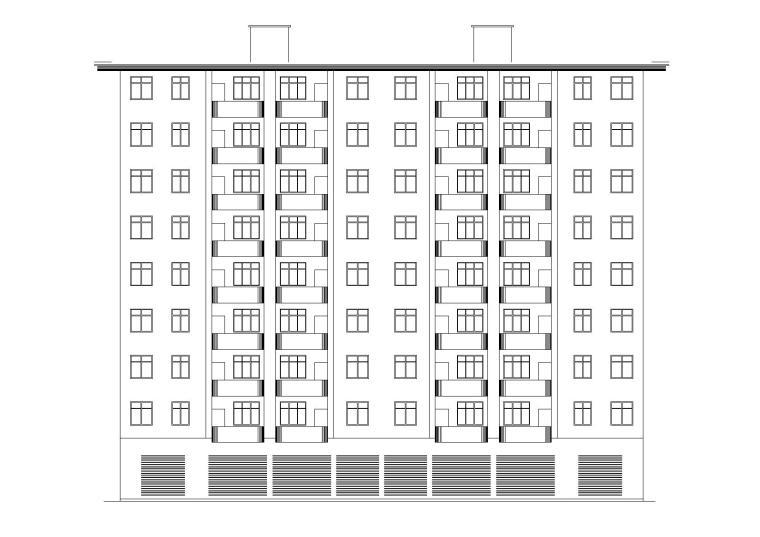 L型坡屋頂閣樓小高層安置住宅樓建筑施工圖