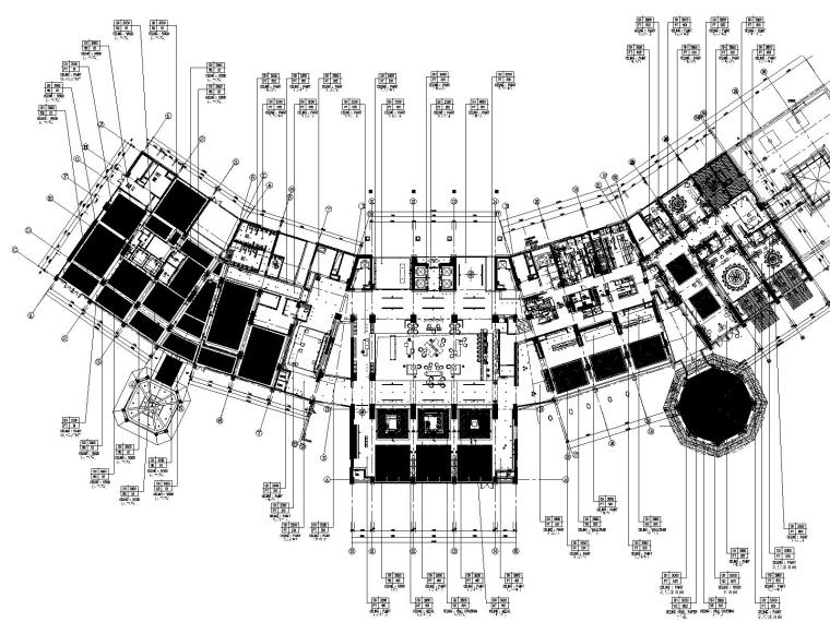 2一层大堂大堂吧及全日餐厅天花布置图
