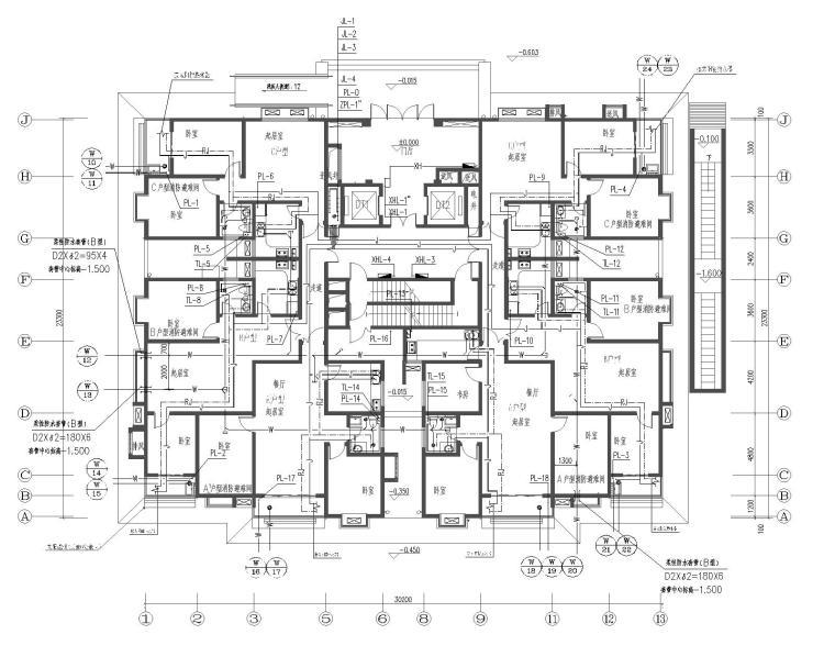 朝阳社区36号楼给排水设计图纸(附计算书)