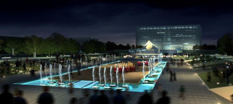 03政务中心政府办公建筑空间组合城市舞台效果图