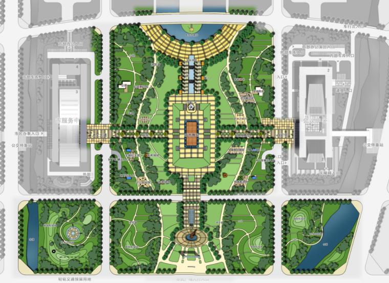 政务中心政府办公建筑空间组合绿地系统图
