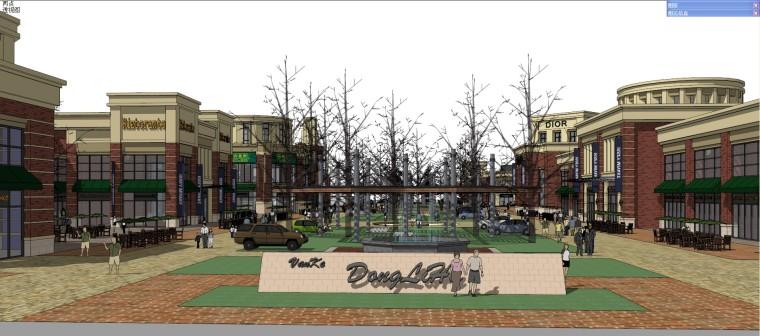 美式商业街建筑模型设计