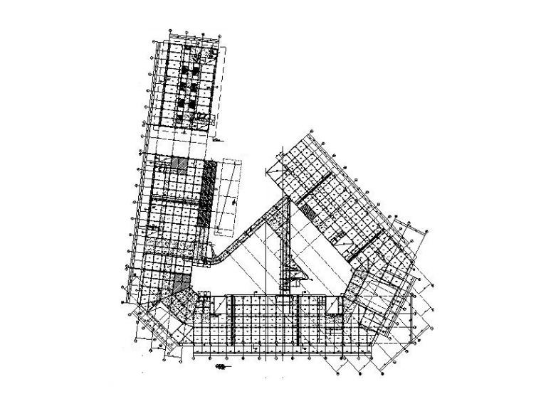 4层+11层不规则框架结构科技馆建筑结构图纸