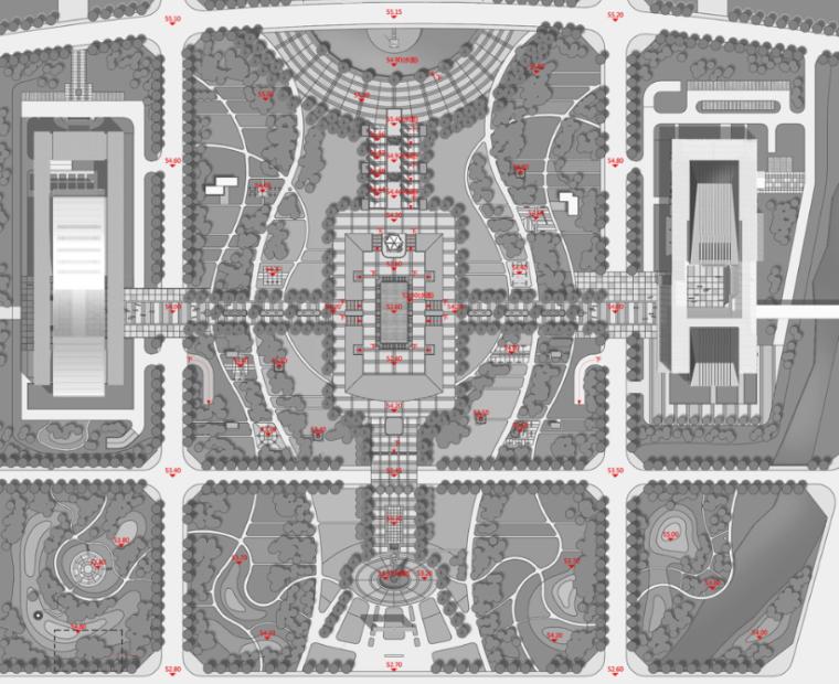政务中心政府办公建筑空间组合竖向设计图