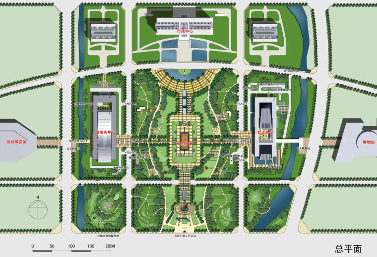 政务中心政府办公建筑空间组合总平面图