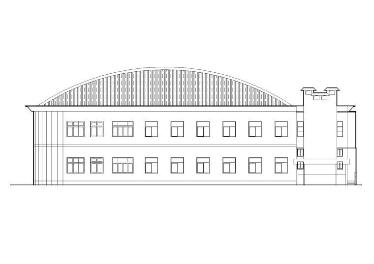 二层弧形屋顶食堂建筑设计施工图