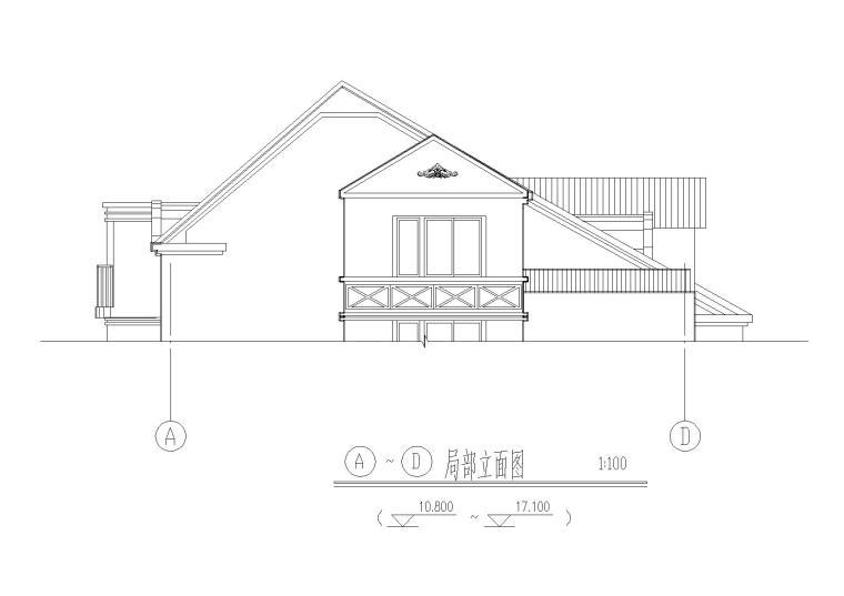 03二层坡屋顶住宅楼建筑侧立面图