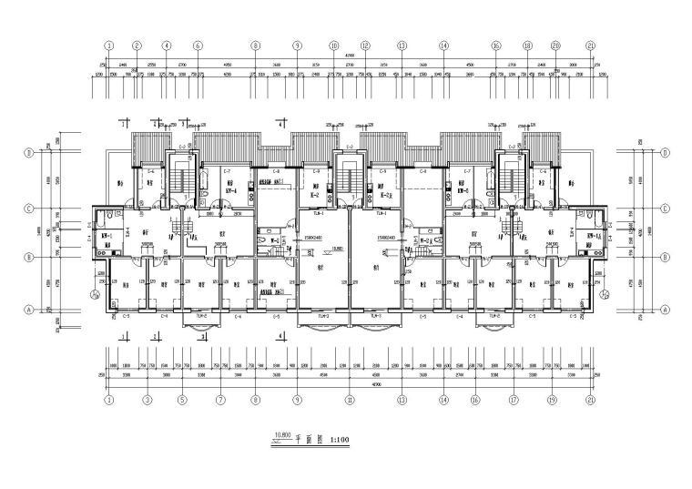 04二层坡屋顶住宅楼建筑10.8m处平面图