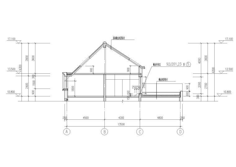 07二层坡屋顶住宅楼建筑屋面剖面图