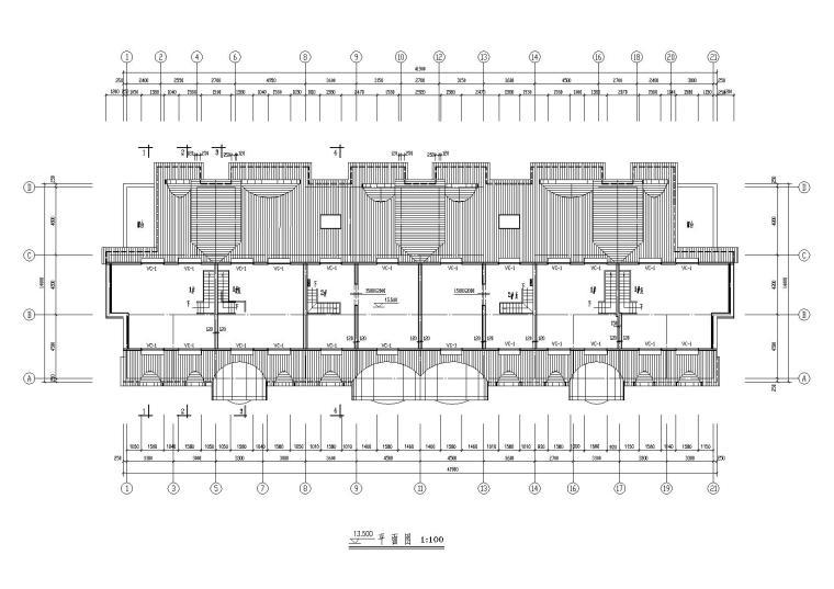 05二层坡屋顶住宅楼建筑13.5m处平面图