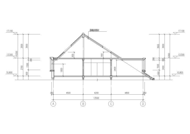 08二层坡屋顶住宅楼建筑屋面剖面图