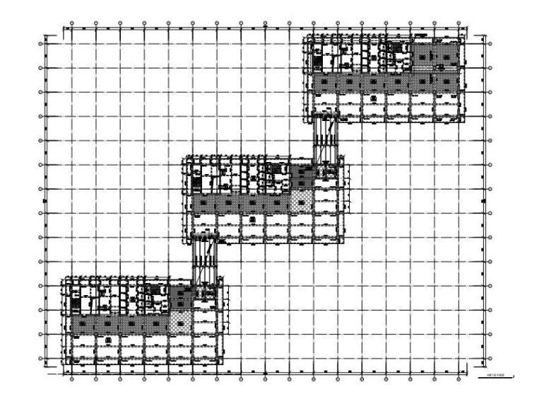 3栋带连桥框架-抗震墙群塔办公楼结构施工图
