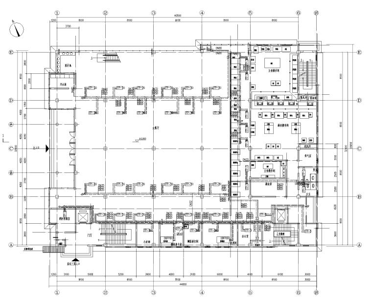 唐山某职工食堂风盘+新风中央空调设计图