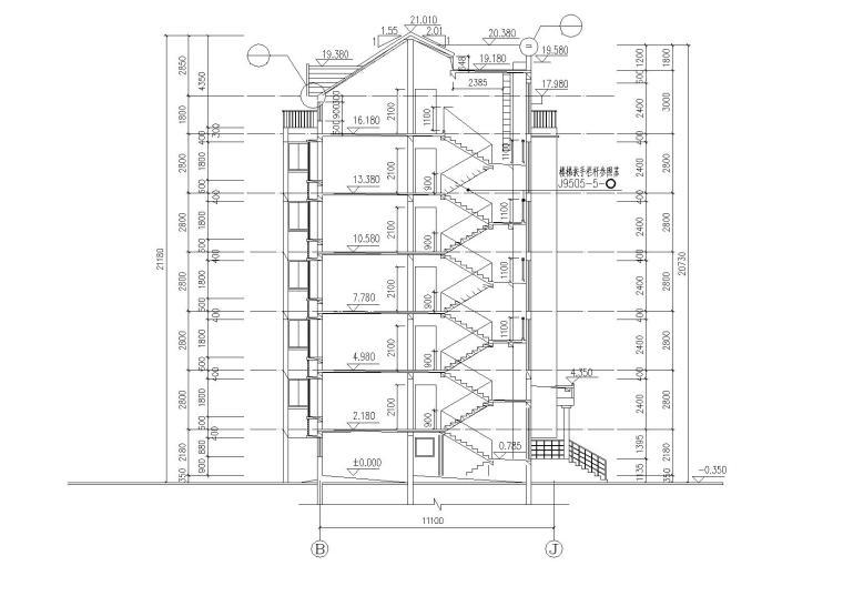 09多层阁楼坡屋顶住宅楼建筑剖面图