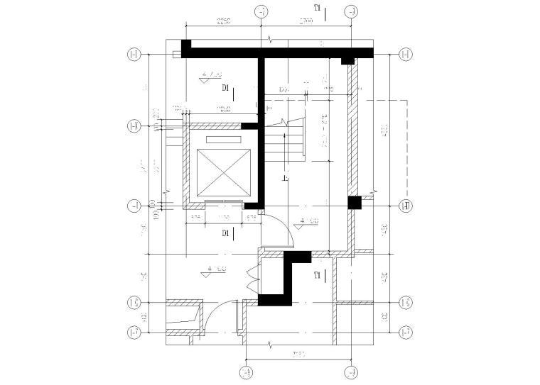 1#楼电梯地下一层平面图