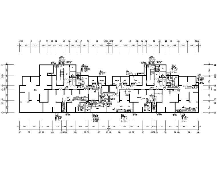 两幢32层住宅楼暖通v暖通完整cad施工图mfc十字绘制图片