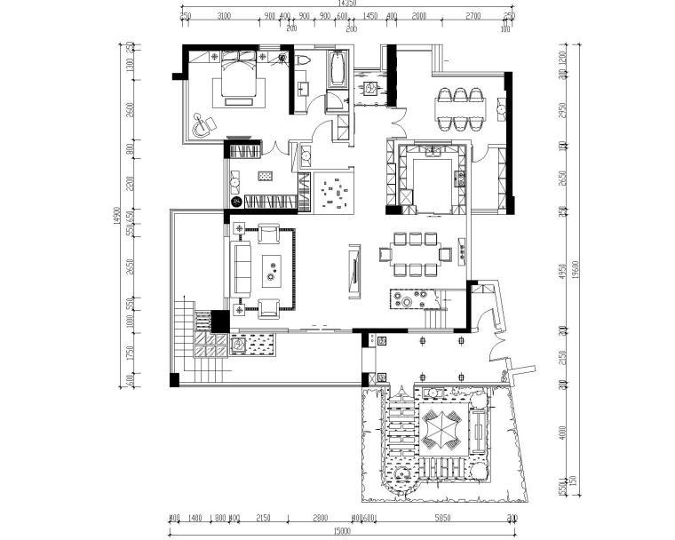 豪华四居室中空别墅装修施工图+效果图+模型