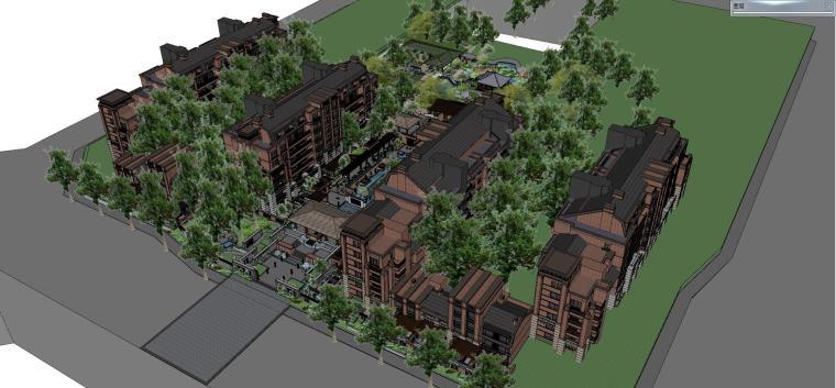 欧式风格居住区建筑模型设计