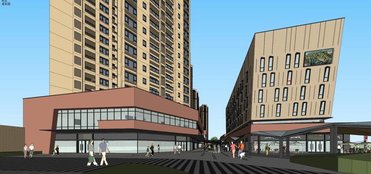 万科城商业+高层+入口住宅建筑模型设计