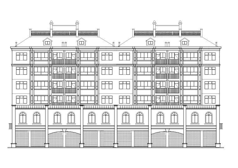 多層坡屋頂磚混閣樓底商住宅樓建筑施工圖