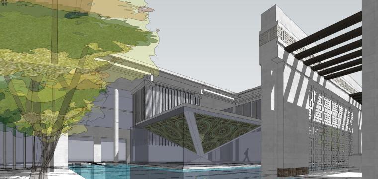 新古典风格万科售楼处建筑模型设计