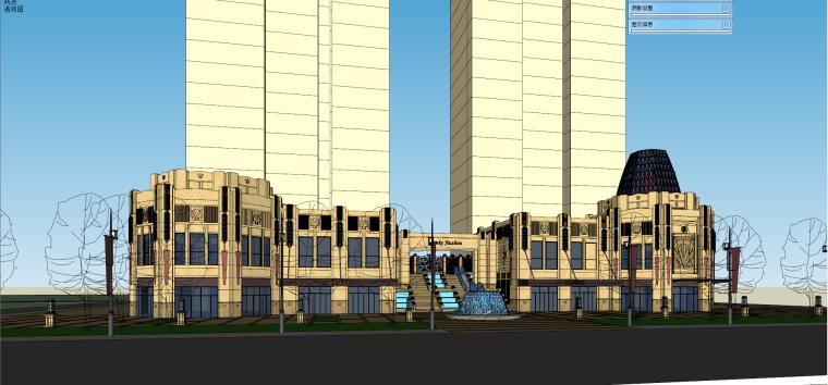 万科九州入口+沿街商业模型新古典风格