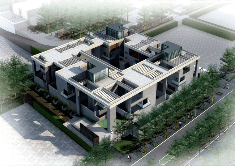 万科现代风格金域华府建筑模型设计