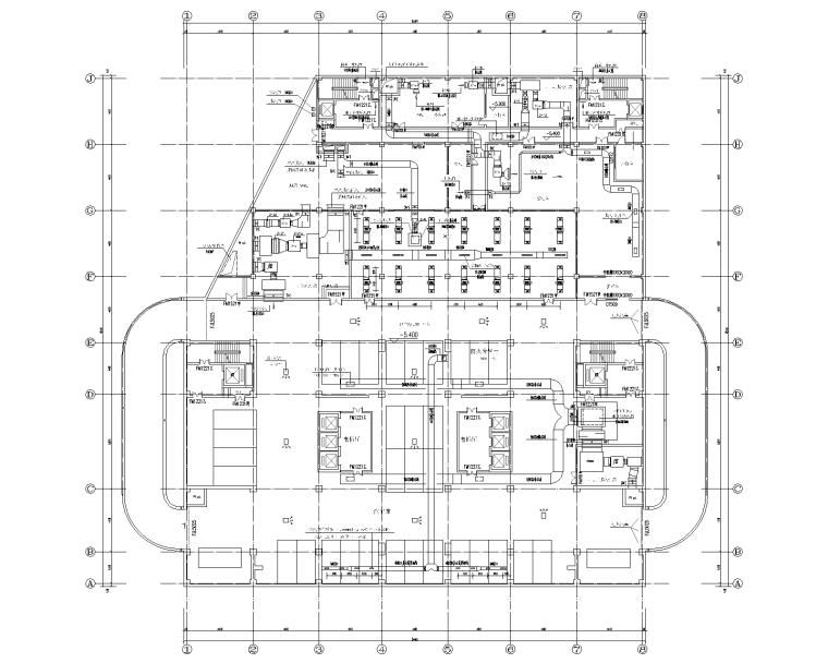 VRV空调装修图资料下载-25层办公楼空气-水系统+VRV中央空调设计图