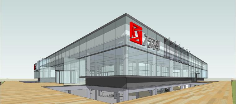 万科现代风格售楼处建筑模型设计