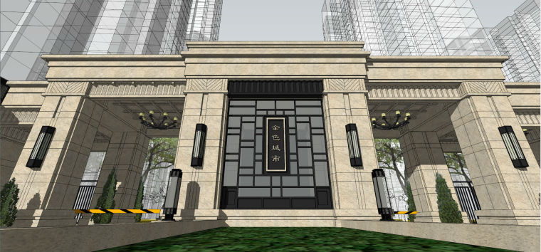 万科·金色城市新古典小区入口建筑模型设计