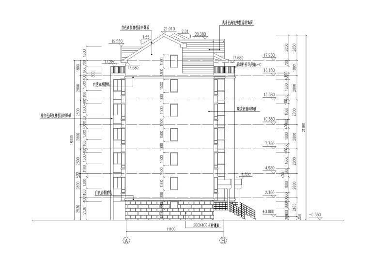 04多层阁楼坡屋顶住宅楼建筑东立面图