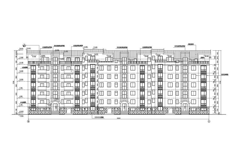 03多层阁楼坡屋顶住宅楼建筑北立面图
