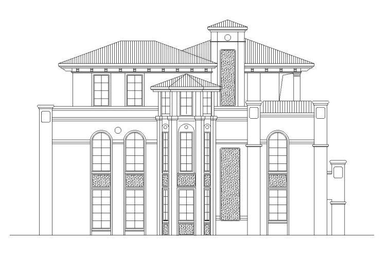 欧陆风格3层独栋别墅建筑施工图