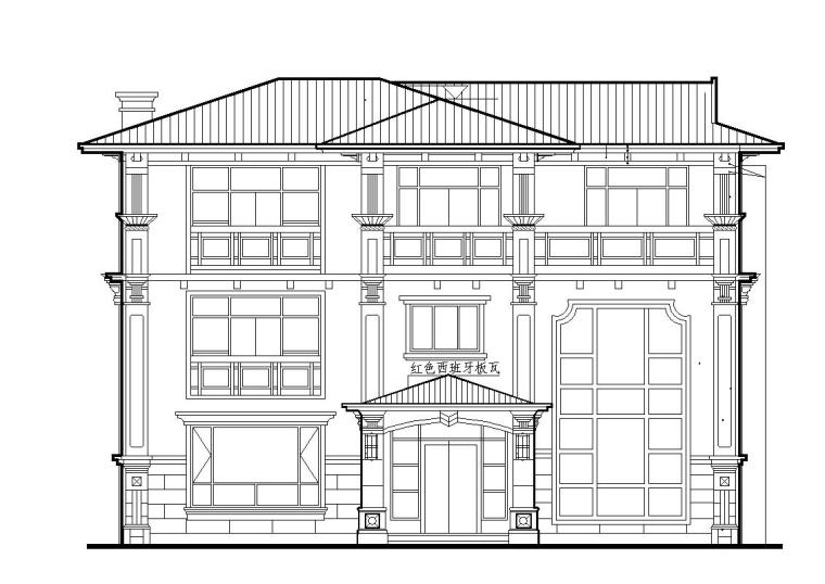 欧式风格三层独栋别墅建筑施工图设计
