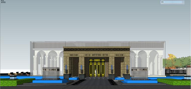 古典+现代风格售楼处建筑模型设计
