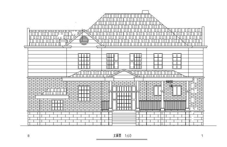欧式风格2层独栋别墅建筑施工图